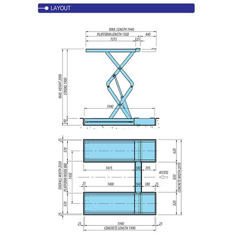 Cầu nâng cắt kéo âm sàn Heshbon HL-35F